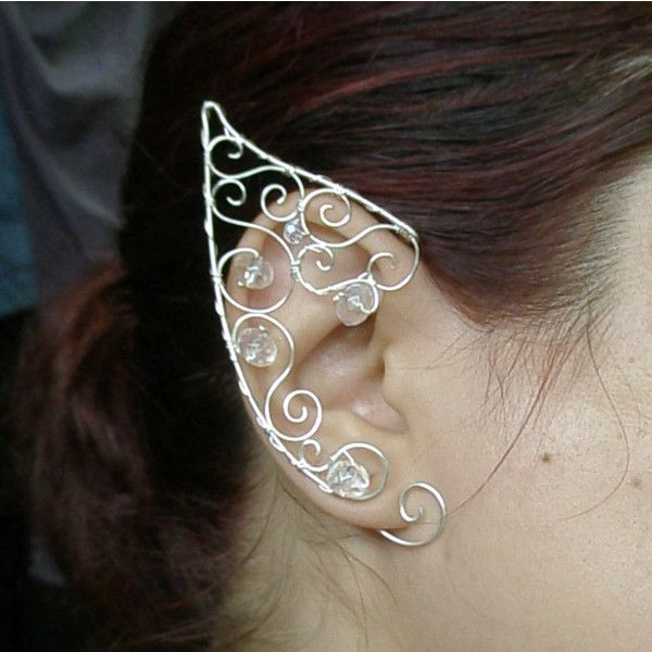 Fairy ear cuff Elven ears elf costume wire wrapped earcuff in silver... ($40) ❤ liked on Polyvore featuring jewelry, earrings, silver earrings, silver ear cuff, wire wrapped earrings, crystal bead earrings and ear cuff jewelry