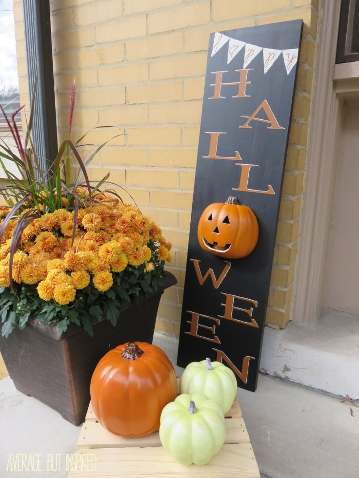 Use a faux craft pumpkin to create a unique light up Halloween sign!