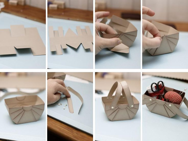 Lembrança!!!!!!!!Como fazer caixinha em formato de cesta de piquenique de papel de scrapbook para material de costura ou guloseimas ~ VillarteDesign Artesanato