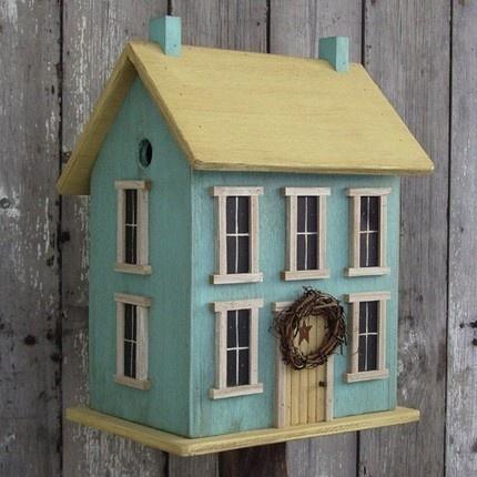 Saltbox birdhouse: Saltbox Birdhouses, Birdhouses Buzz, Dolls Houses, Boxes Birdhouses, Dreams Houses, Birds Houses, Saltbox Birds, Beaches Houses, Robins Eggs Blue