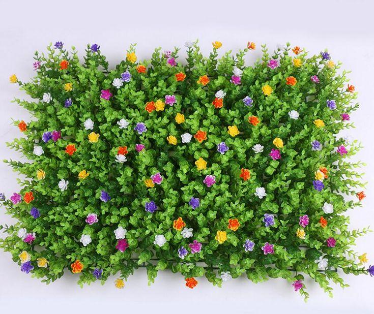 60*40cm Artificial Lawn Turf Plant Eucalyptus Grass+Flowers Lawns Carpet Garden Decoration House Ornaments Plastic Turf Carpet