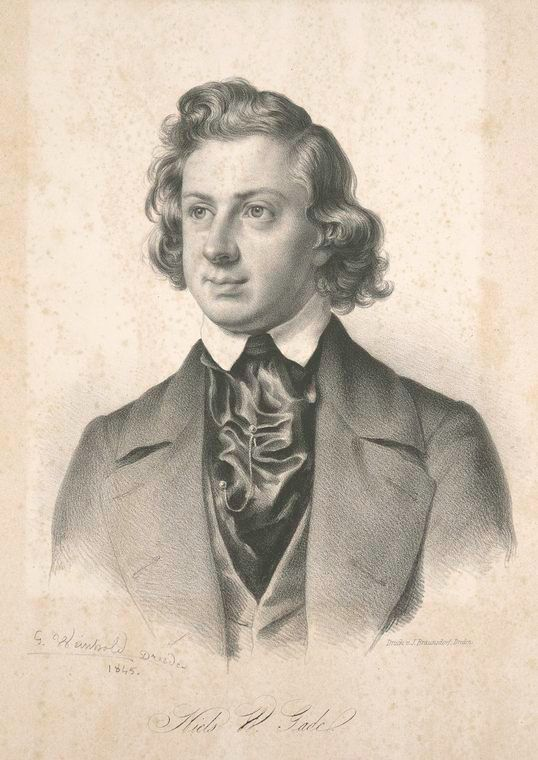 Niels Gade (1817-1890), lithograph (1845), by Georg Weinhold (1813-1880).
