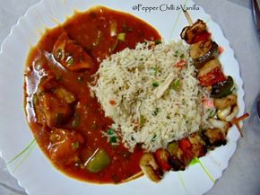Chicken Shashlik with fried rice and manchurian