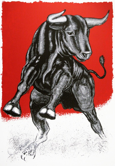 Sam Coronado, Quince, 2008 (Screen Print / Edition of 13). The bull is a symbol of strength as well as the suffering and struggle of survival. The bull's muscles and aggressive stance show his power, as the red background conveys passion and reminds the viewer of a matador's cape.