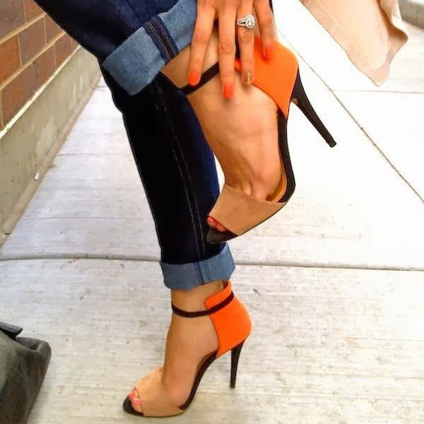 Real Image Handmade Orange One Piece Women Sandal Sexy High Heel Shoes Ladies Ankle Strap Open Toe OL Sandals Wedding Party Shoe