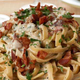 Two of my favorite things! Fettuccine Alfredo with Pancetta