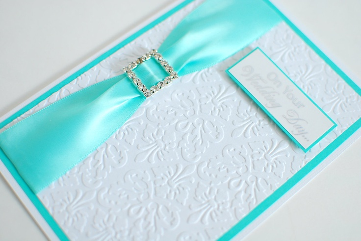"""Embossed Teal Ribbon with Rhinestone Jewel Slider On Your Wedding Day Greeting Card 5"""" x 7"""". $5.00, via Etsy."""