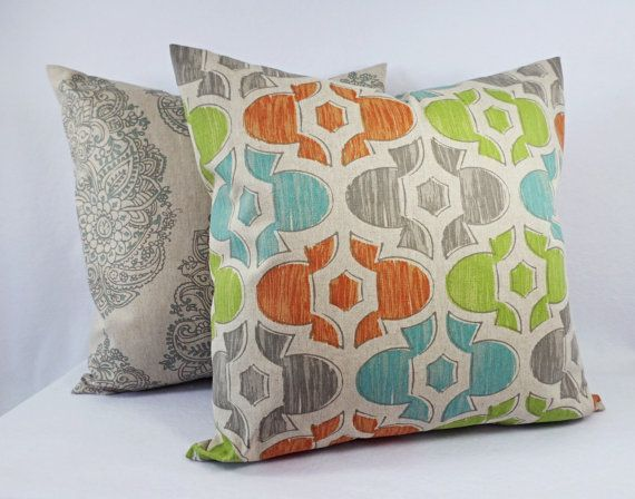 This listing is for ONE green, orange, blue, and beige pillow cover! This decorative pillow cover can be made to fit any size pillow insert and is 87% cotton and 13% rayon. Simply select the size and fabric you would like at checkout. To add multiple pillow covers to your cart, you can increase the quantity, or add the pillow covers to your cart one at a time. *****This listing is for just the pillow covers, the inserts are not included.*****  1. Archery - Green, orange, blue, and taupe…
