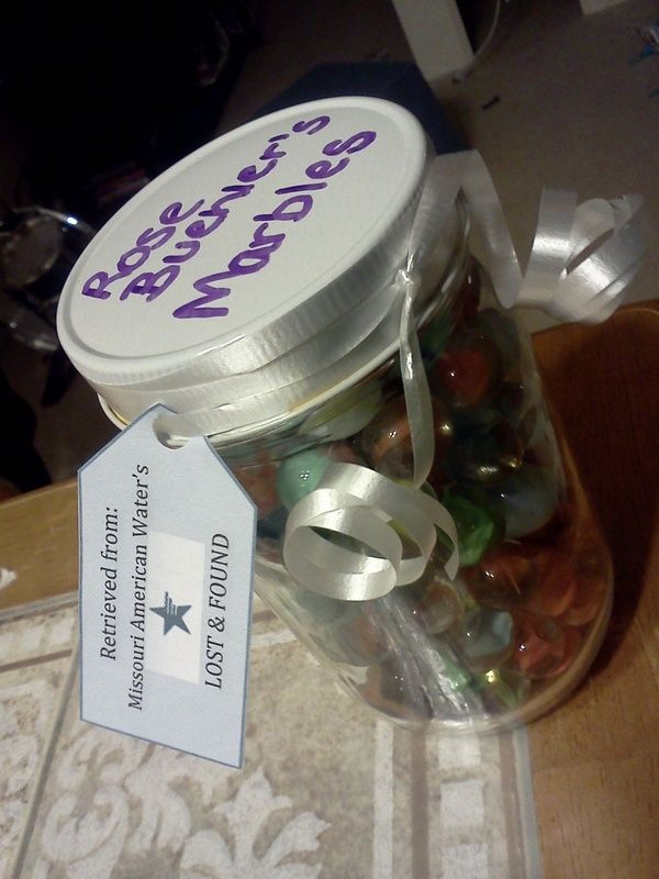 """Lost Marbles Retirement Gag Gift--use it for a """"guess the marbles"""" game...???"""