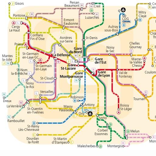 Routes & District maps for Metro - Paris, France
