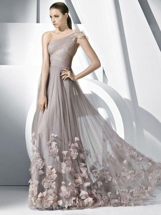 A-line/Princess Plisseringer Tyll En Skulder Håndlaget blomst Floor-length Dress