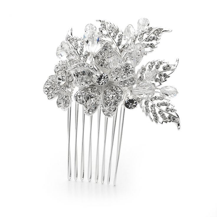'Gwendolynne' Crystal and Beaded Bridal Hair Comb - Item No: FCOMB