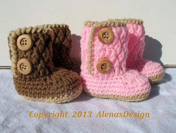Crochet Pattern 091  - Two-Button Baby Booties 3-6, 6-9, 9-12 months - Baby Booties - Baby Boy - Baby Girl - Winter Booties - Slippers on Etsy, $5.50