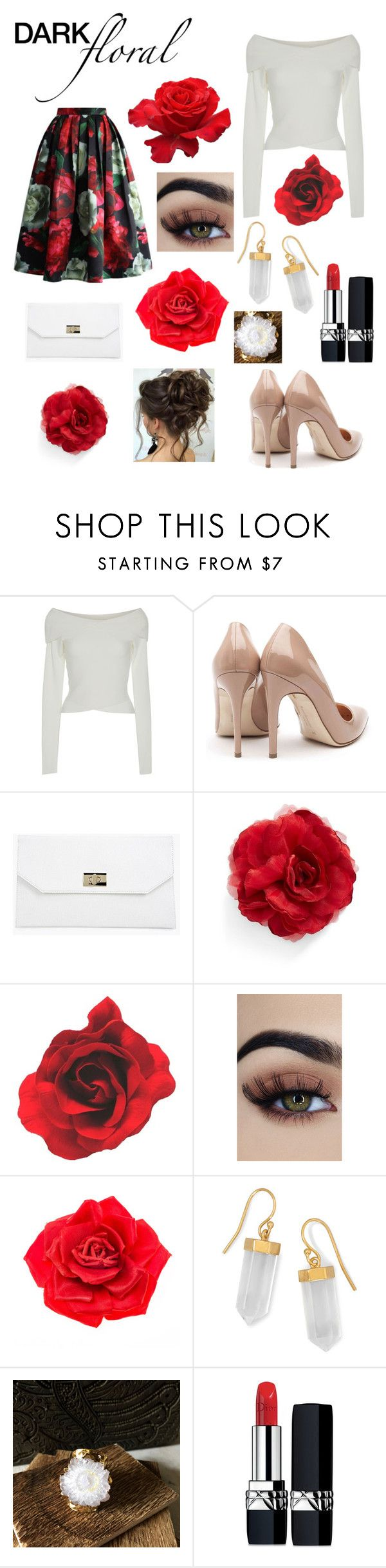 """""""In Bloom: Dark Florals"""" by bindisydney ❤ liked on Polyvore featuring A.L.C., Rupert Sanderson, Boohoo, Cara, Johnny Loves Rosie, BillyTheTree, Christian Dior and darkflorals"""