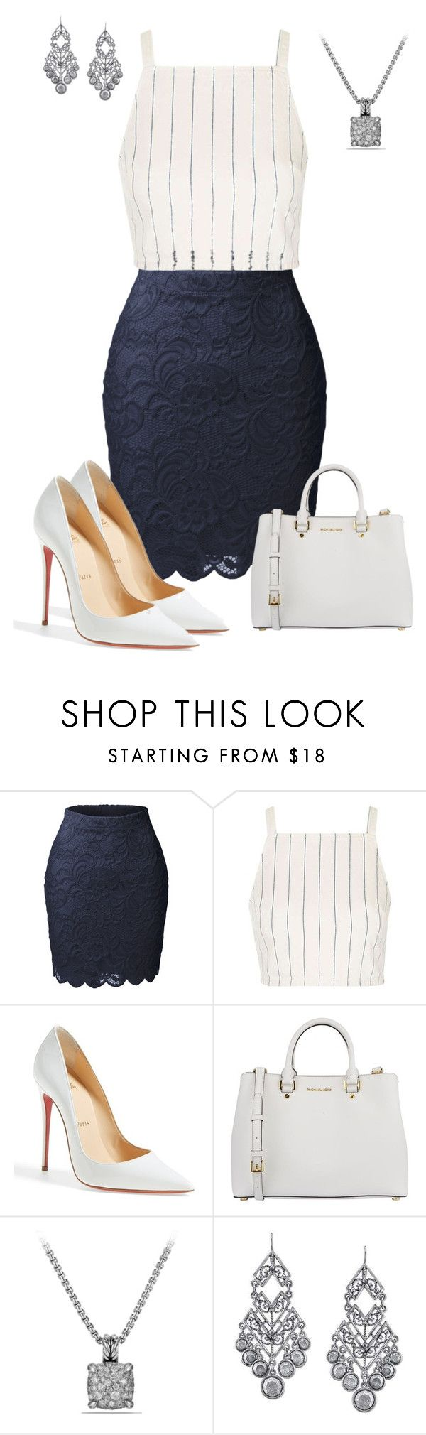 """Untitled #772"" by angela-vitello on Polyvore featuring LE3NO, Topshop, Christian Louboutin, MICHAEL Michael Kors, David Yurman and 1928"
