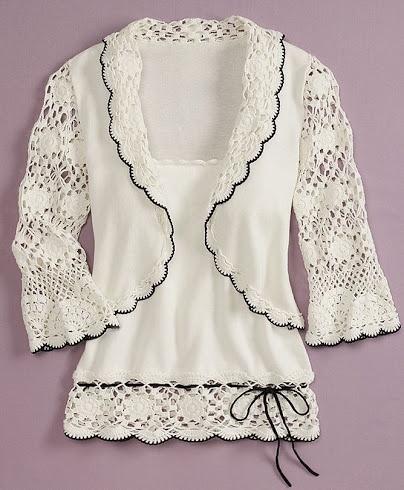 Outstanding Crochet: Crochet top, luv the black trim