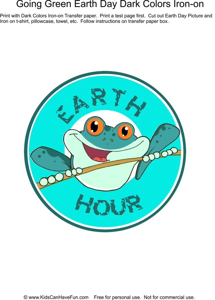 Earth Day Earth Hour T-shirt iron-on http://www.kidscanhavefun.com/earthday-activities.htm #earthday #earthhour
