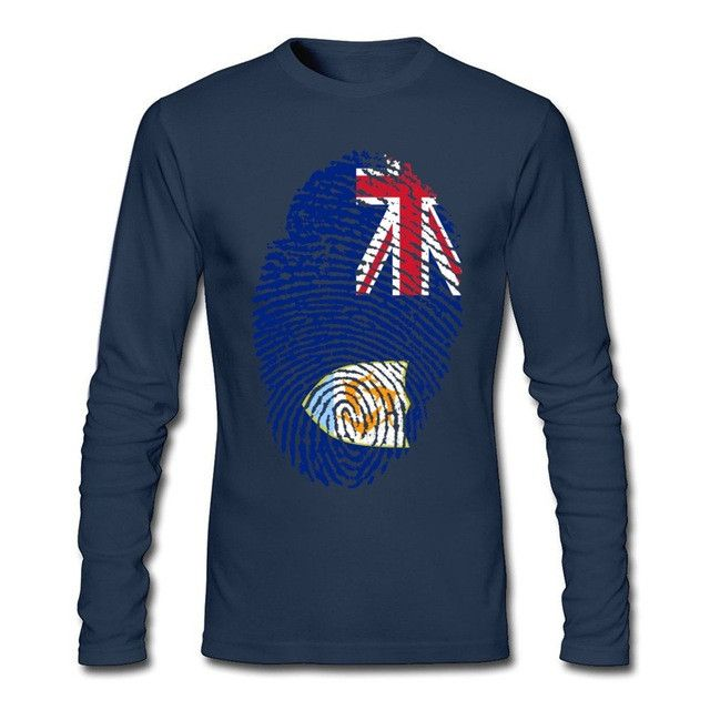 Anguilla Flag Fingerprint Men's Long SleeveT-Shirt