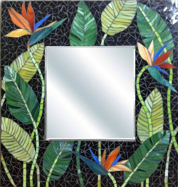 Mosaic Mirror bird of paradise flowers