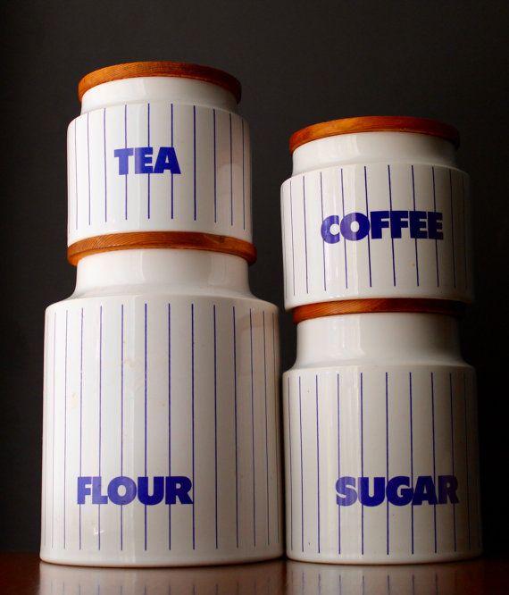 Vintage Hornsea Stripe Canister Set Flour by NotMadeInChinaFinds