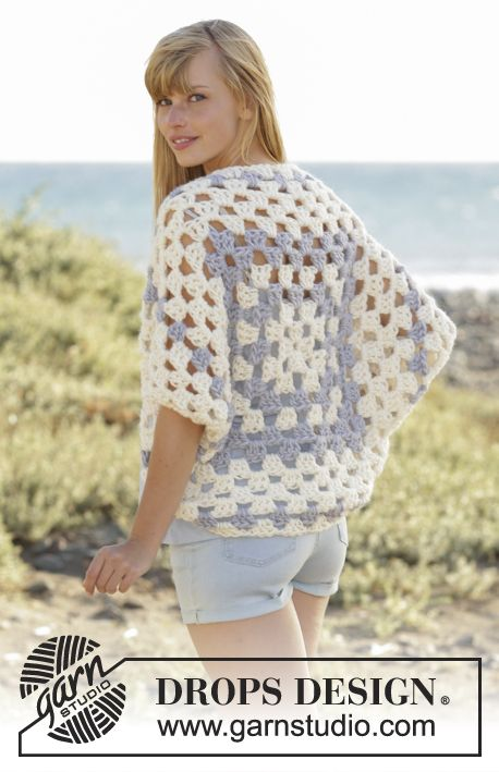 """Island Morning - #crochet shoulder piece with dc-groups in """"Eskimo"""". Size: S - XXXL. - Free pattern by DROPS Design"""