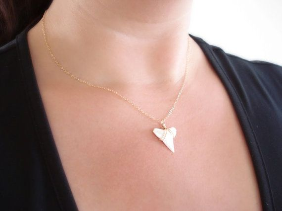 Genuine Shark Tooth Necklace Shark Tooth Jewelry by FiveOfMine, $28.00