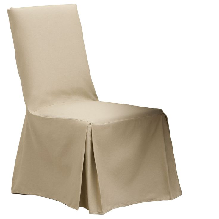 Cotton Duck Parsons Chair Slipcover Pair Sand Brown Solid