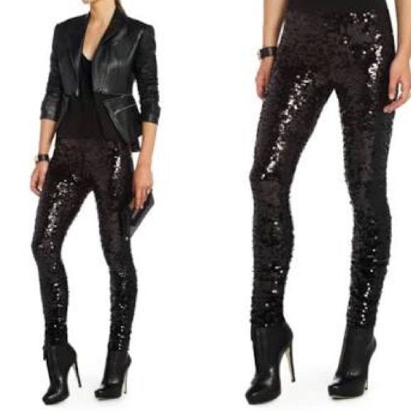 BCBG Max Azria black sequin leggings⚫️ BCBG Max Azria black sequin leggings/ size small/ perfect condition and store bought/ they look amazing for a night out BCBGMaxAzria Pants Leggings