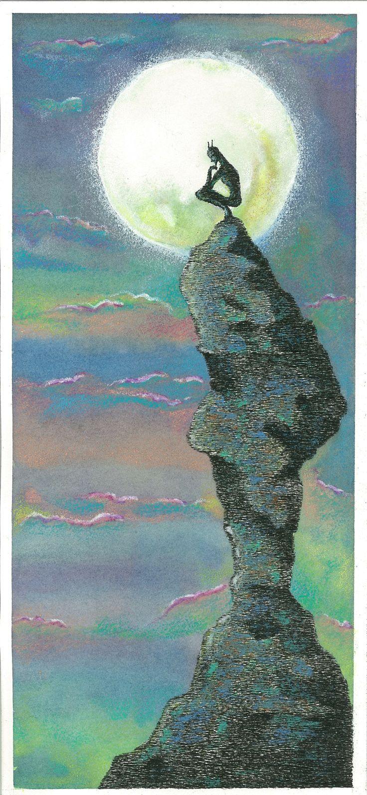 """""""L'Apres Midi d'un Faune"""", 2013  5-Nuova solitudine sotto l'antica luna. China, acquerelli, pastelli a cera - Ink, watercolors, wax crayons."""
