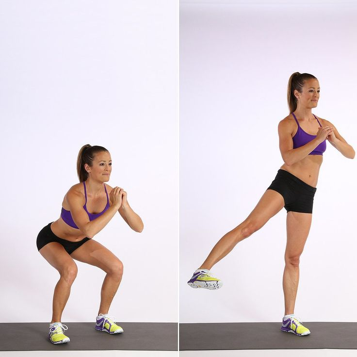 Basic Squat with side leg Llft can help smooth out your saddlebags, also called your lower love handles. You'll definitely feel this move burning both sides of your tush at the same time.