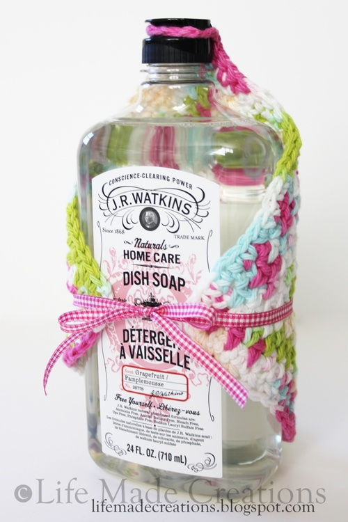 Crochet Dishcloths with a bottle of soap
