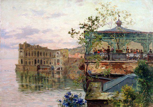 Brancaccio Carlo (Napoli 1861 - 1920) Trattoria a Palazzo donn'Anna