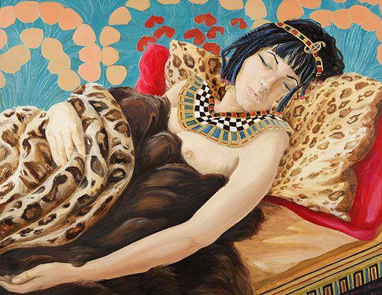 Barbara Gatti Cocci - Titolo - Cleopatra - olio e acrilico oro su cartone - cm 77,5 x 63 - anno 2011