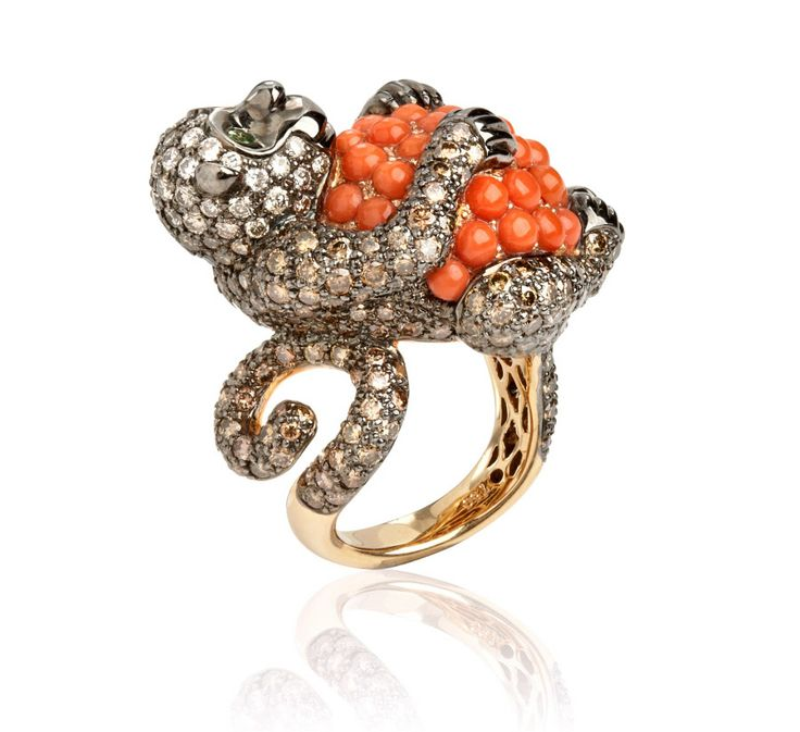 Fantasie Mischievous Monkey Ring by Wendy Yue for Annoushka. Created in 18ct white gold, brown diamond, black diamond, sapphire, green garnet and golden coral.
