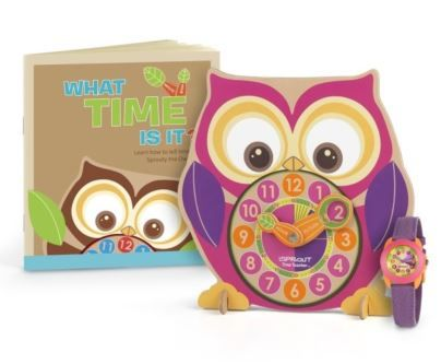 Help her make a big step toward feeling like a grown up! The Sprout Time Teacher Set is a fun and eco-friendly way to teach your child how to tell time. This one-of-a-kind set includes a Sprouty The Owl Time Teacher Clock, a fun time-telling book filled with activities, tips and tricks and her very first Sprout biodegradable watch.