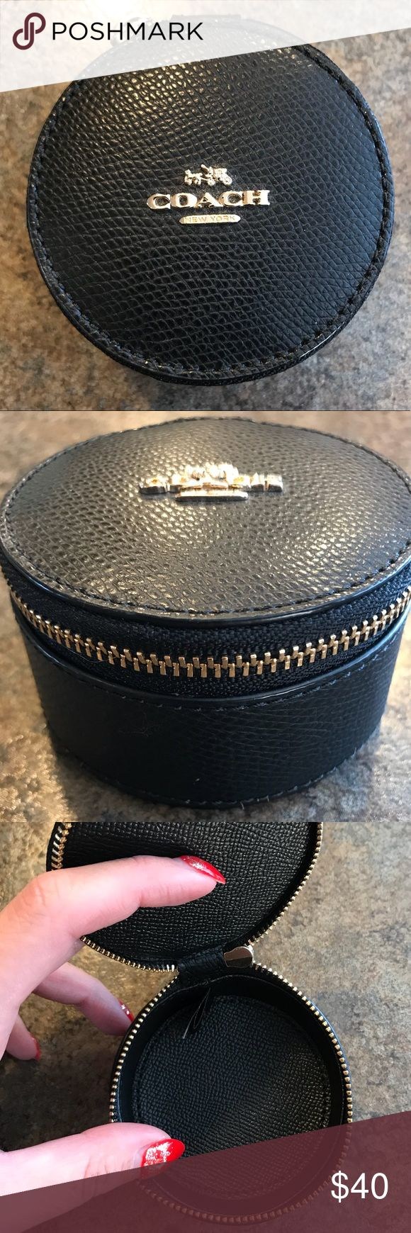 "// coach jewelry case // Coach Jewelry Case :Retails for $65 :Color - Black w. gold hardware :Size 3""W // 2""H :Crossgrain leather :Zipper :NWOT (no tags were attached when I bought it at the store) :Multi-usage - jewelry, coins, medication, etc. :Comes from a smoke & pet free home  ❤️MONEY GOES TOWARD SCHOOL SUPPLIES FOR DISADVANTAGED STUDENTS. THANK YOU!❤️ Coach Bags"