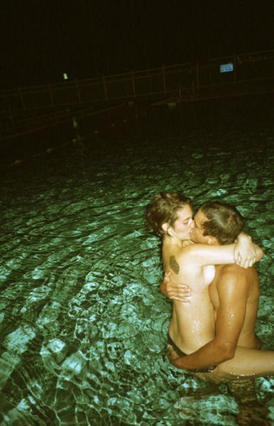 Pool nightime naked swim