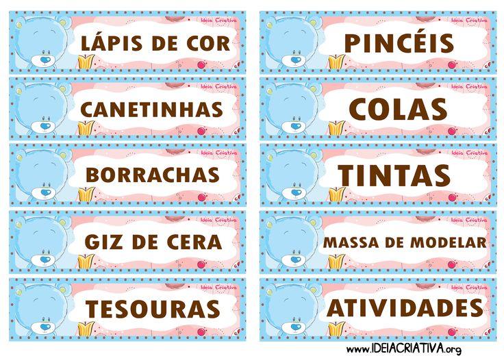 Etiquetas para organizar material Ursinho Azul