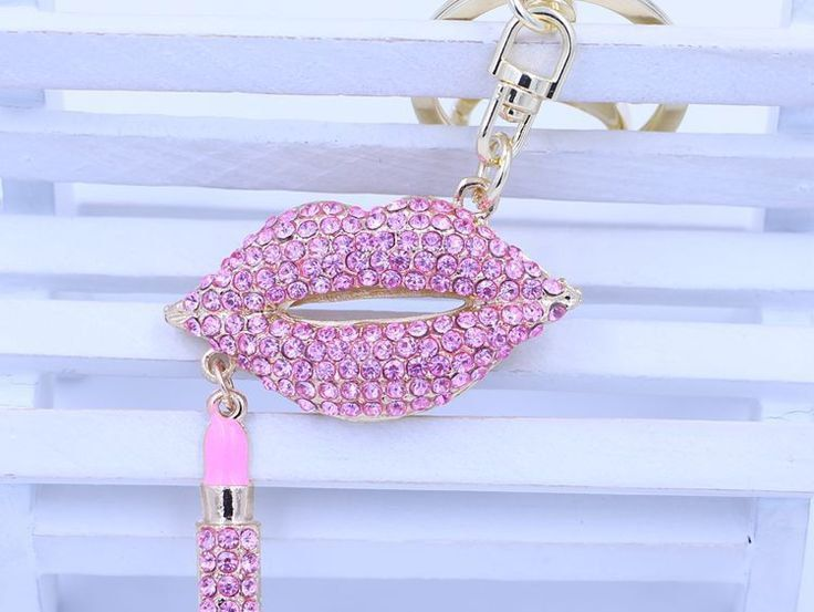 Fabulous Sparkling Pale Pink Crystals Rhinestones Brilliant Ice Lips & Lipstick Key Chain Key Ring Charm Car Accessory 18K Gold Plated by VintageChicPleasures on Etsy