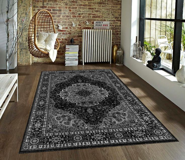 Black Gray Persian Oriental Large Traditional Area Rugs - Bargain Area Rugs
