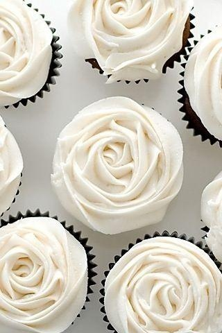 white rose cupcakes! Love love love!! Want a small ombre wedding cake in our colors for us to cut, then have simple white rose cupcakes for guests @Kristen Nay Kloth....can u make these?