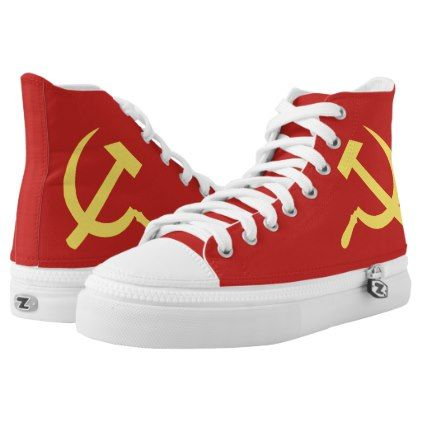 #Russian Hammer and Sickle High Top Shoes - #womens #shoes #womensshoes #custom #cool