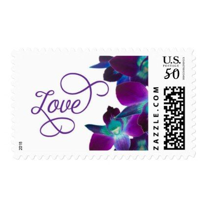 LoveTropical Blue and Purple Orchids Postage - engagement gifts ideas diy special unique personalize
