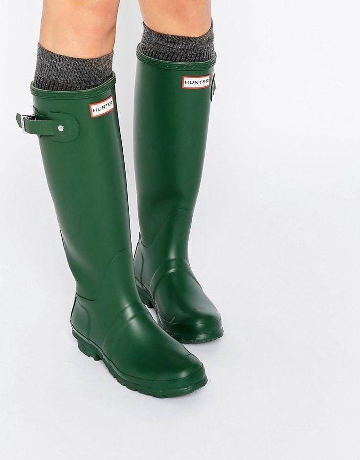 Image 1 - Hunter - Bottes hautes en caoutchouc authentiques ajustables - Vert chasseur