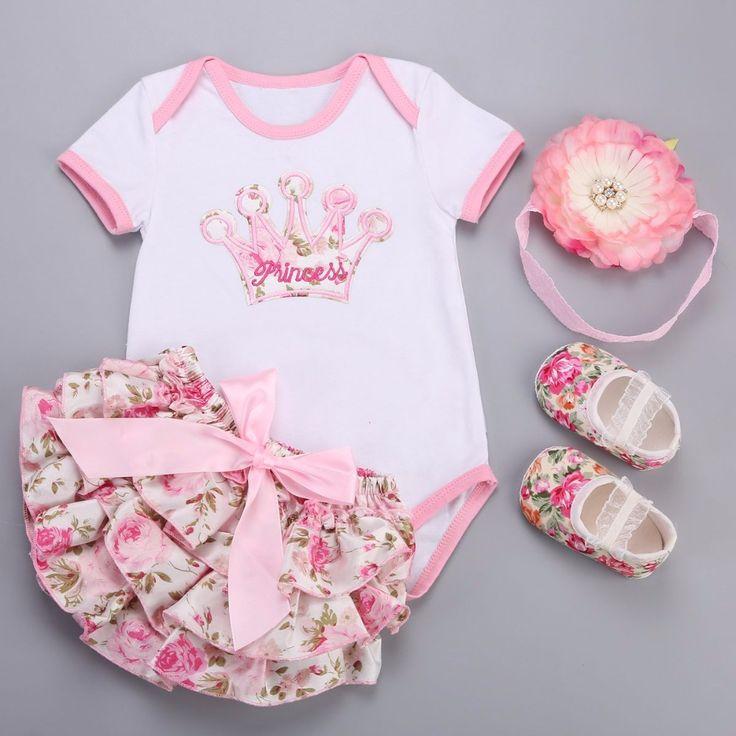Grand fleur bandeau Couronne Floral bébé fille vêtements robe courte chaussures 4 couleurs   – Baby Clothing