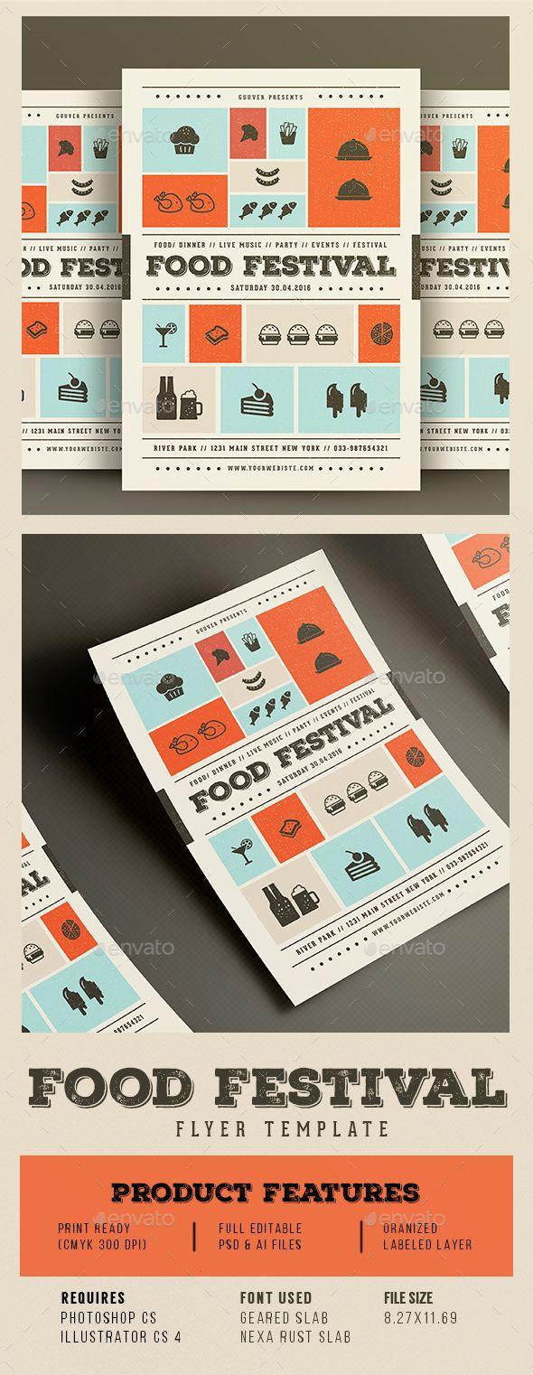 Food Festival Flyer Template PSD, Vector AI #design Download: http://graphicriver.net/item/food-festival-flyer/14495670?ref=ksioks