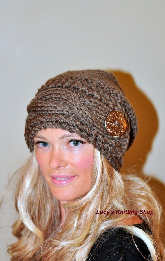 Slouchy Hat Slouch Beanie Cable Button Hat Hand Knit por lucymir