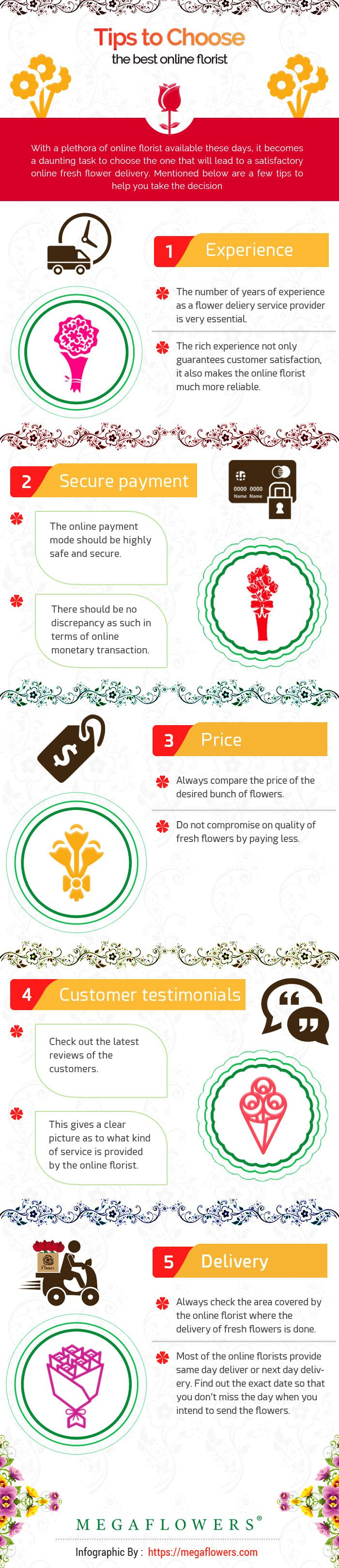 Few essential tips need to be kept in mind while choosing the best online florist. Always go for the experienced florist, check weather the payment gateways are safe or not, compare the price, read the testimonials and find out the exact delivery time. By following these helpful tips, you will end up ordering fresh flower delivery through a reputed and trustworthy online florist. Check out the infographic below and get to know the steps to be taken in detail. https://megaflowers.com/