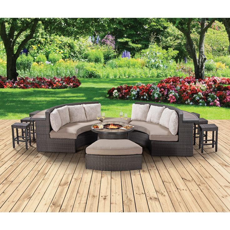 Berkley Jensen Crescent Bar And Firepit Chat Set: LOVE THE BAR BEHIND THE  COUCH!