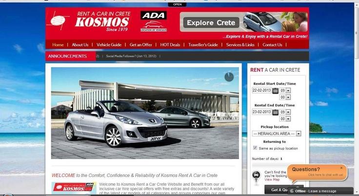 Car Hire Crete by Kosmos.  Website's Snapshot Image